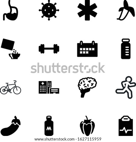 fitness vector icon set such as: business, to-do, lifting, nutritious, stroke, microbiology, bottle, runner, marathon, vegetarian, bar, mind, outdoor, fruit, microbe, dumbbell, meal, running