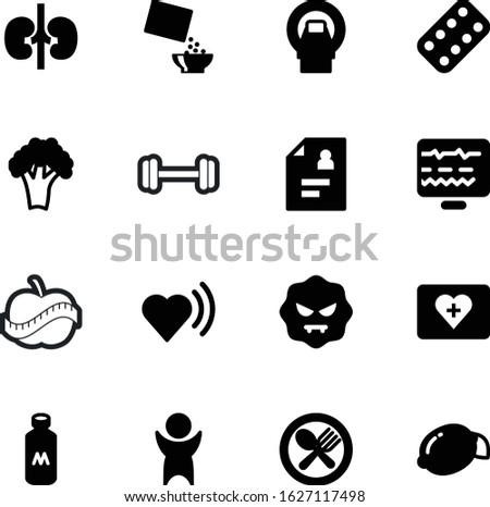 fitness vector icon set such as: power, shadow, mold, beverage, help, beat, package, illness, restaurant, male, thin, cross, boy, love, machine, aid, broccoli, report, ecg, winner, nutritious, radio