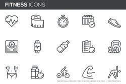 Fitness Vector Line Icons Set. Healthy Lifestyle, Sport, Diet, Workout. Editable stroke. Perfect pixel icons, such can be scaled to 24, 48, 96 pixels.