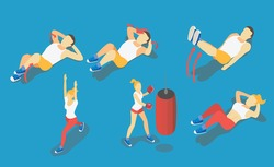 Fitness Weight-liftin in gym, gymnastics workout and yoga exercises. 3d isometric icons. Sport people, total abs,vector illustration