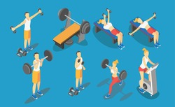 Fitness Weight-lifting in gym, gymnastics workout exercises. 3d isometric icons. Sport people health vector illustration
