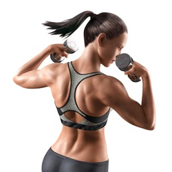 Fitness woman with dumbbell in sportswear, 3d illustration