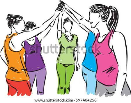 fitness women team illustration