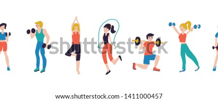 Fitness workout characters seamless vector illustration border. Sport club gym body-building powerlifting health training dumbbells barbell yoga jump rope. Healthy lifestyle.
