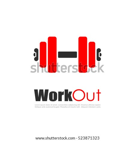 Fitness workout vector logo illustration on white background. Sport work out logo.
