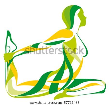fitness YOGA girls vector