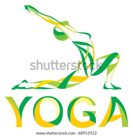 fitness YOGA girls vector - stock vector