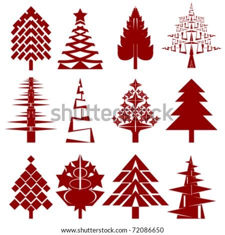 five abstract christmas tree