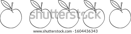 five apples white background
