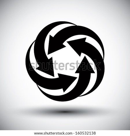 Five arrows loop conceptual icon, abstract new idea vector symbol.