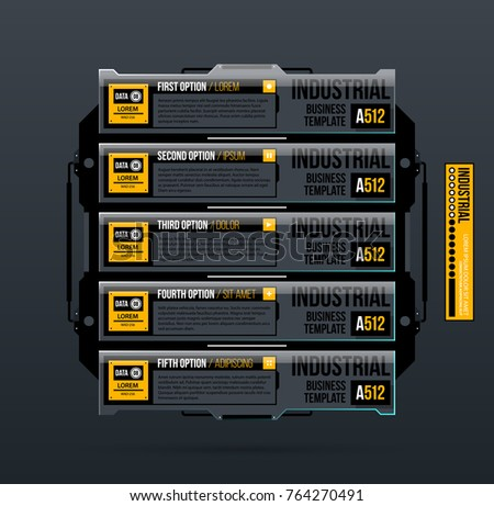 Five banners/options template in industrial style on dark gray background