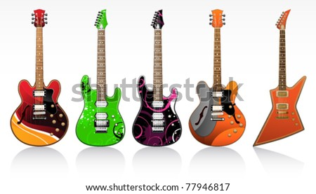 five beautiful electric guitars on a white background
