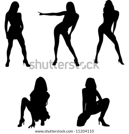five beautiful girls vector silhouette