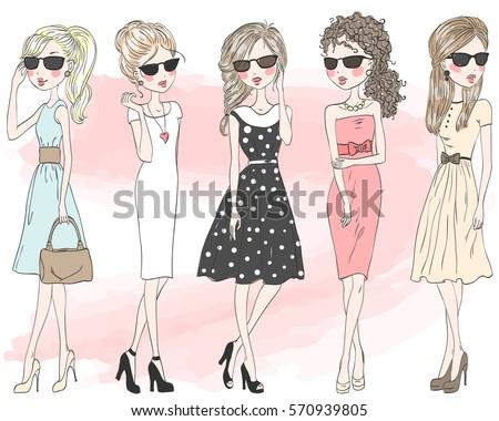 Five beautiful stylish cute cartoon fashion girls. Vector illustration.