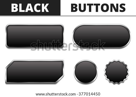 five black buttons with metal