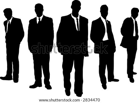 Five business men hanging in a gangster style - stock vector
