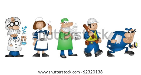 Five cartoon professionals scientist doctor nurse builder burglar