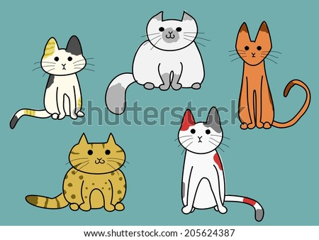 five cats - stock vector