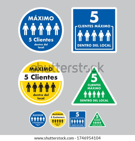 five clients maximum inside the store, mandatory exterior signage to control the entry of people to businesses, stores, restaurants and closed places, ideal to avoid fines, violations and penalties Photo stock ©