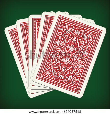 five closed playing cards