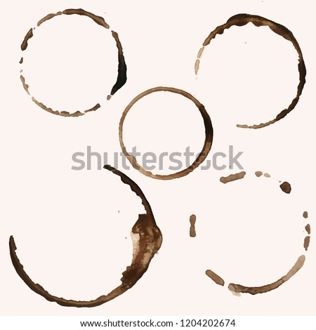 five coffee ring stains vector
