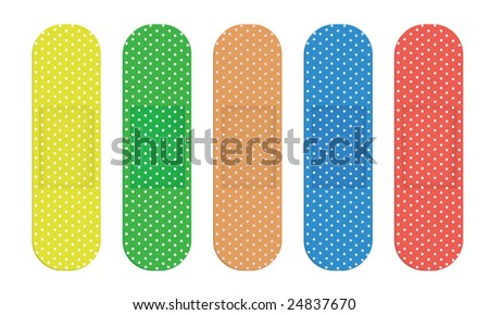 Five Color Bandages - stock vector