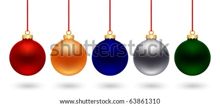 five color christmas ball on white background