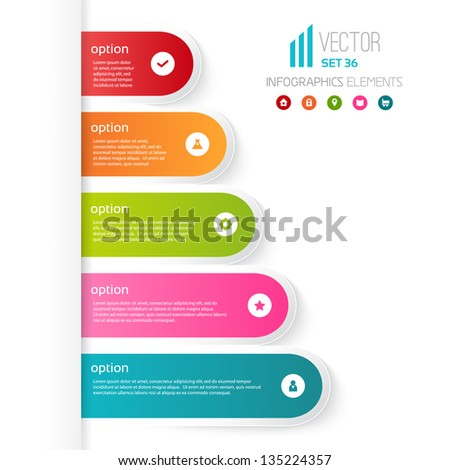 Five colored steps with different options and descriptions. White background