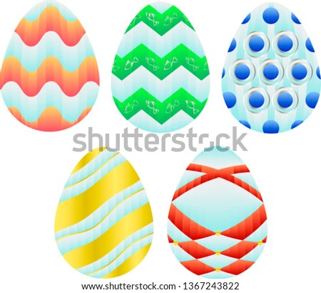 Five colorful gradient Easter eggs with folded paper effect or line effect vector