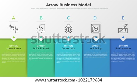 Five colorful rectangular elements, thin line pictograms, pointers and text boxes. Concept of arrow business model with 5 successive steps. Modern infographic design template. Vector illustration.
