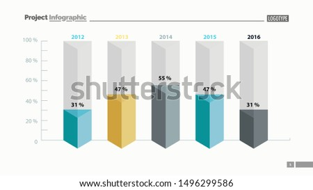 Five columns bar chart slide template. Business data. Percent, comparison, design. Creative concept for infographic, presentation, report. Can be used for topics like management, finance, analytics.
