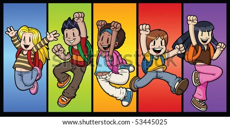 Five cool cartoon kids jumping All characters and background in separate layers for easy editing.