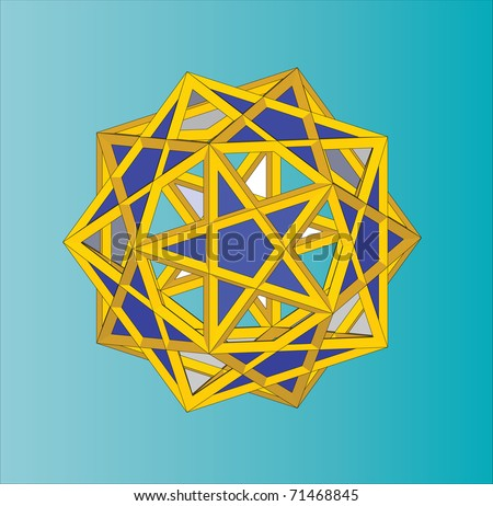Five Cubes. A compound of 5 cubes. Polyhedron with pentagrams.