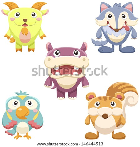 five cute animals set. vector with white background