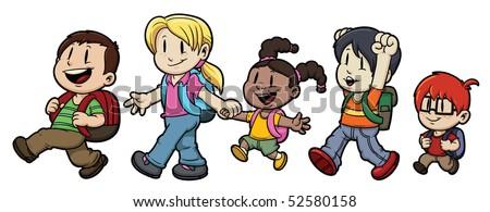 five cute cartoon kids walking