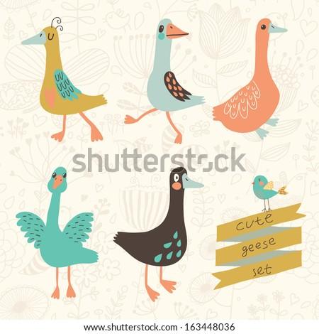 five cute geese in vector set
