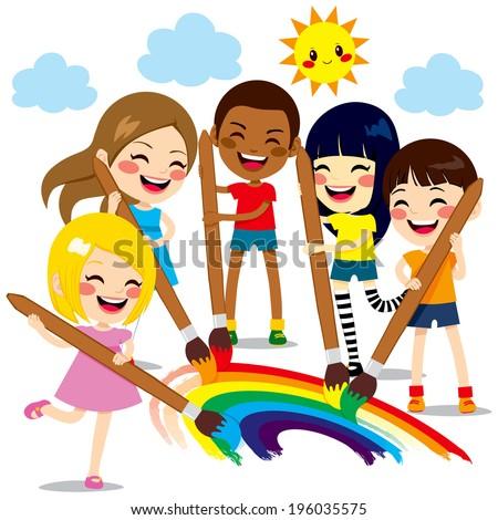 five cute little kids painting