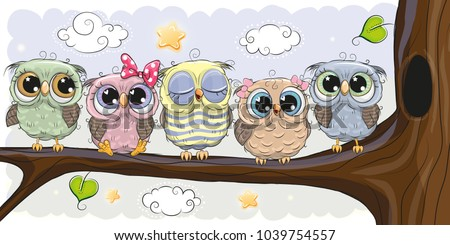 five cute owls is sitting on a