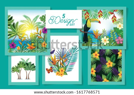 five designs of flowers with