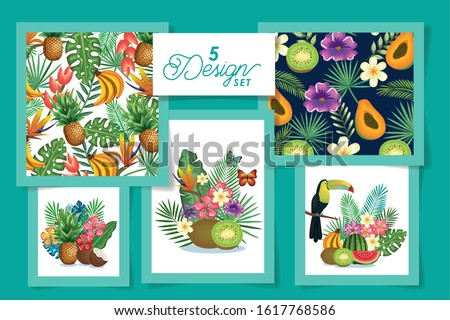 five designs of fruits with