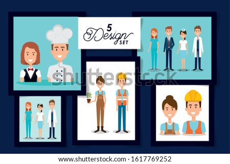 Five designs of women and men, Workers actions working occupation jobs proffesional employee service and labor theme Vector illustration