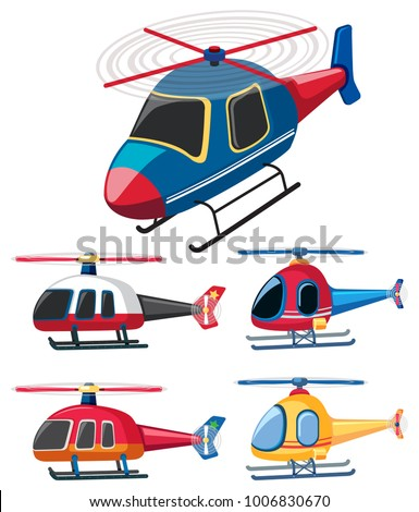 Five different designs of helicopters illustration