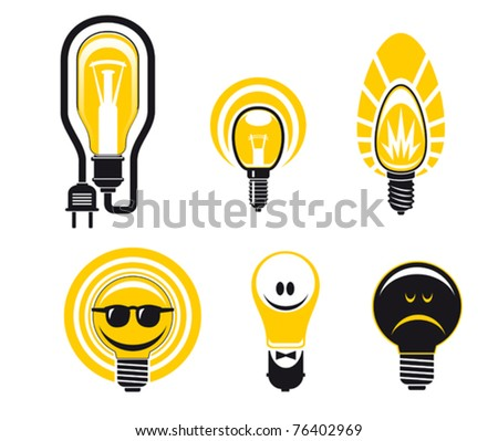 Five different energy efficient yellow light bulbs with happy faces and one old-fashioned black one with a sad scowling face , conceptual vector illustration. Jpeg version also available in gallery