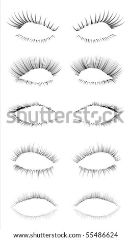 Five different eyelashes in an editable vector file, great for illustration compositions.
