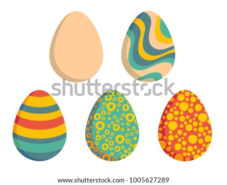 Five Easter eggs, one clear and four colored with strips, dots, rings and waves. Each isolated, so you can choose only one.  #1005627289