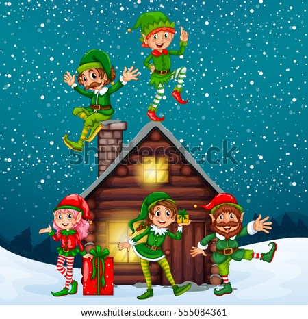 five elves at the wood cabin on