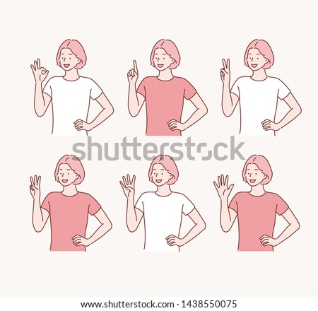 Five female hands raise up, in fist, one finger, two, three, four, and all five fingers pointing up. Hand drawn style vector design illustrations.