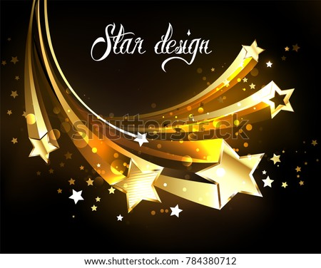 Five flying golden stars on dark background.