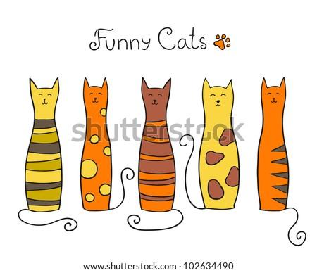 five funny cats vector