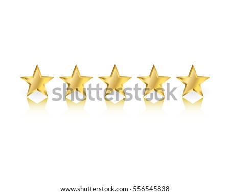 five gold stars with reflection